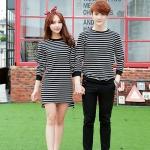เสื้อแขนยาวคู่รักสไตล์เกาหลี ลายขวาง (สีดำขาว)