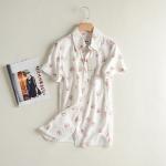P64507 เสื้อแฟชั่น ผ้าฝ้ายเนื้อดี สีขาวพิมพ์ลายหมี