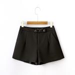 p03121 กางเกงขาสั้น ซิบข้าง สีดำ พร้อมซับในกระเป๋าข้าง