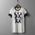 P36510 เสื้อคอกลมตัวยาว ผ้าเนื้อนิ่ม สีขาว แขนระบาย