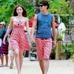 ชุดว่ายน้ำคู่รัก ชุดคู่รักเที่ยวทะเล สีชมพูอมส้ม สุดจี๊ด