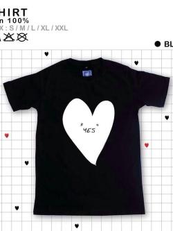 เสื้อยืดแฟชั่น ลายน่ารัก แนวๆ ลายหัวใจสีดำขาว