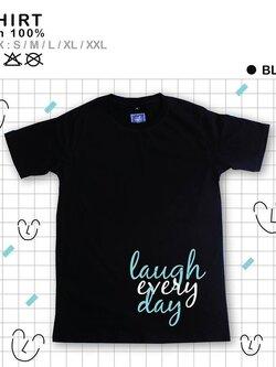 เสื้อยืดแฟชั่น ลายน่ารัก แนวๆ Laughสีดำ