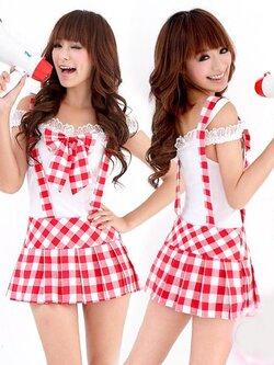 174  ชุดคอร์สเพลย์ลายสก็อตสีแดงสลับขาว ชุดนี้ของจริงน่ารักมากๆ ค่ะ แม่ค้า Confirm