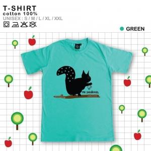 เสื้อยืดแฟชั่น ลายน่ารัก แนวๆ ลายกระรอก สีเขียว