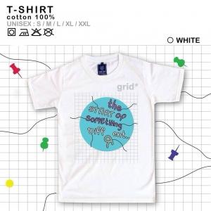 เสื้อยืดแฟชั่น ลายน่ารัก แนวๆ ลายgridสีขาว