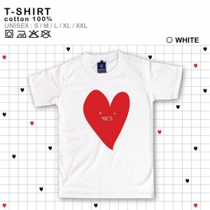 เสื้อยืดแฟชั่น ลายน่ารัก แนวๆ ลายหัวใจสีขาวแดง