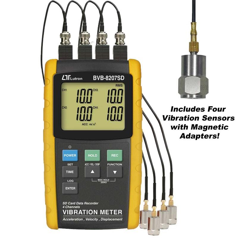 Vibration Meter 4 channels VIBRATION RECORDER เครื่องวัดความสั่นสะเทือนจากไต้หวัน รุ่น Lutron BVB-8207SD