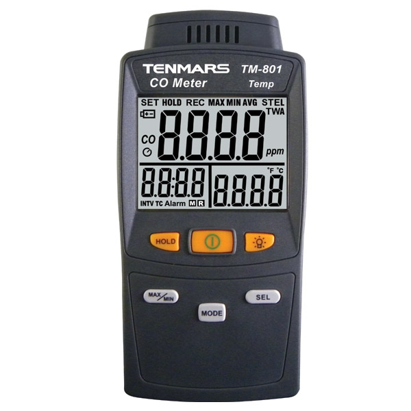 เครื่องตรวจจับก๊าซคาบอนด์มอนน็อกไซด์,CO(Carbon Monoxide Detector) Tenmars รุ่น TM-801