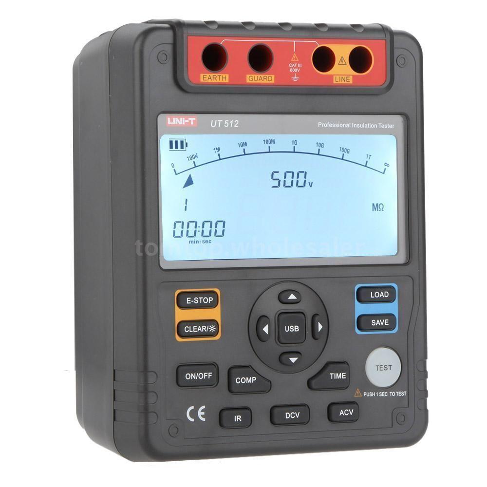 เครื่องทดสอบความเป็นฉนวน (Digital Insulation Tester) ยี่ห้อUni-t รุ่น UT512 1000Vdc,100G OHM USB