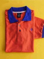 เสื้อโปโลแฟชั่นผู้ชาย สีส้มปกน้ำเงิน